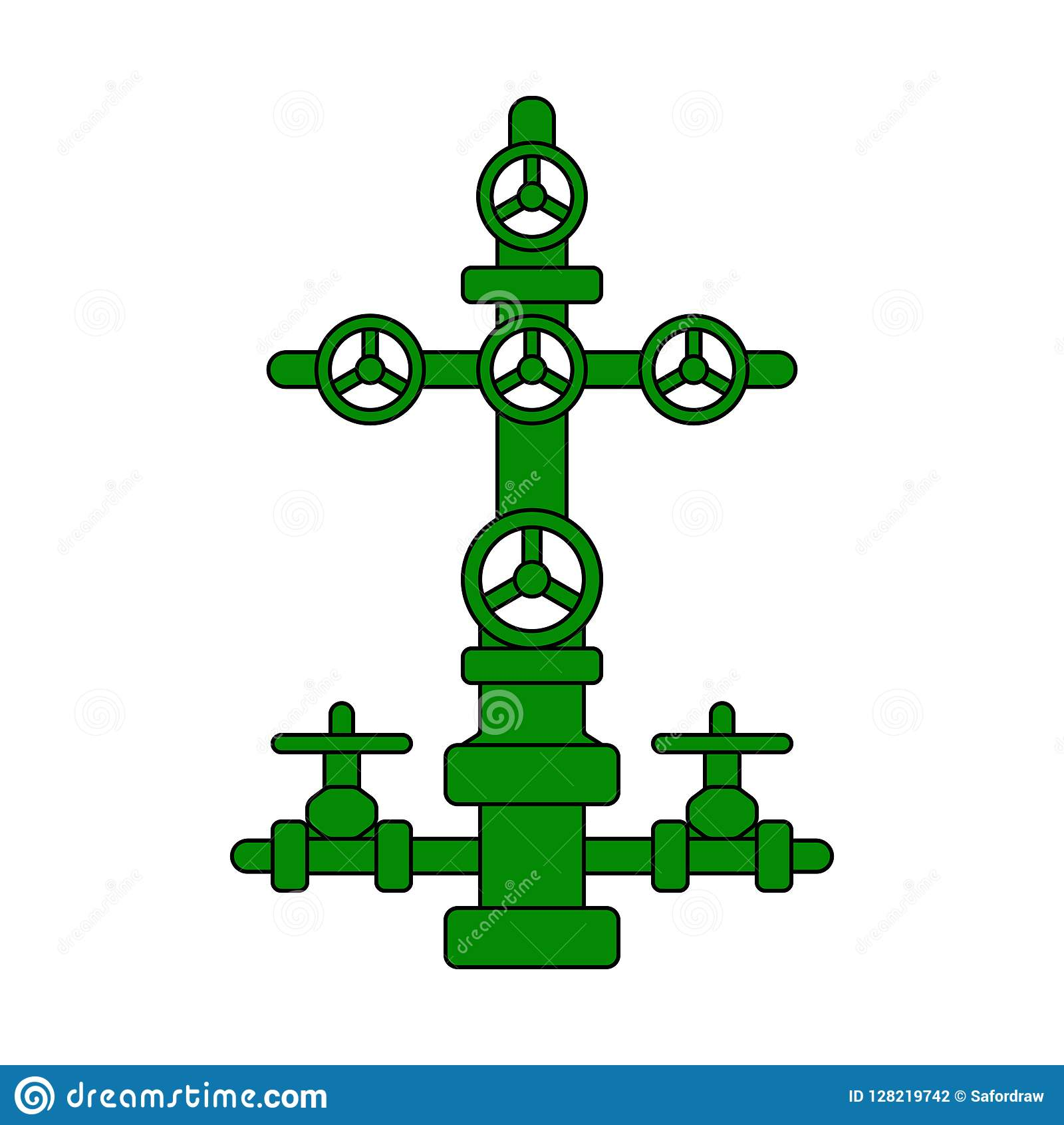 Christmas Tree Sign For Oil And Gas Wells Green Flat Vector