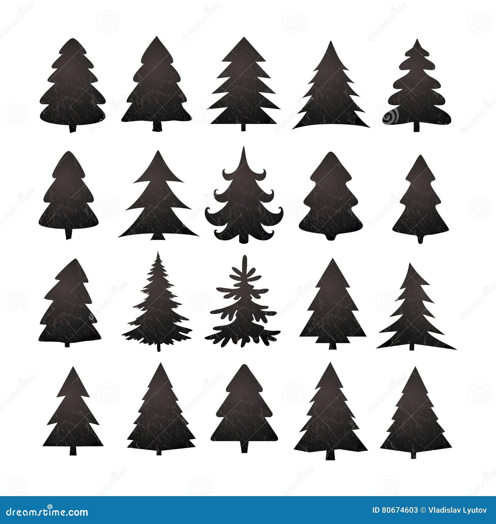 Christmas Tree Clipart Silhouette.Christmas Tree Silhouette Design Vector Set Stock Vector