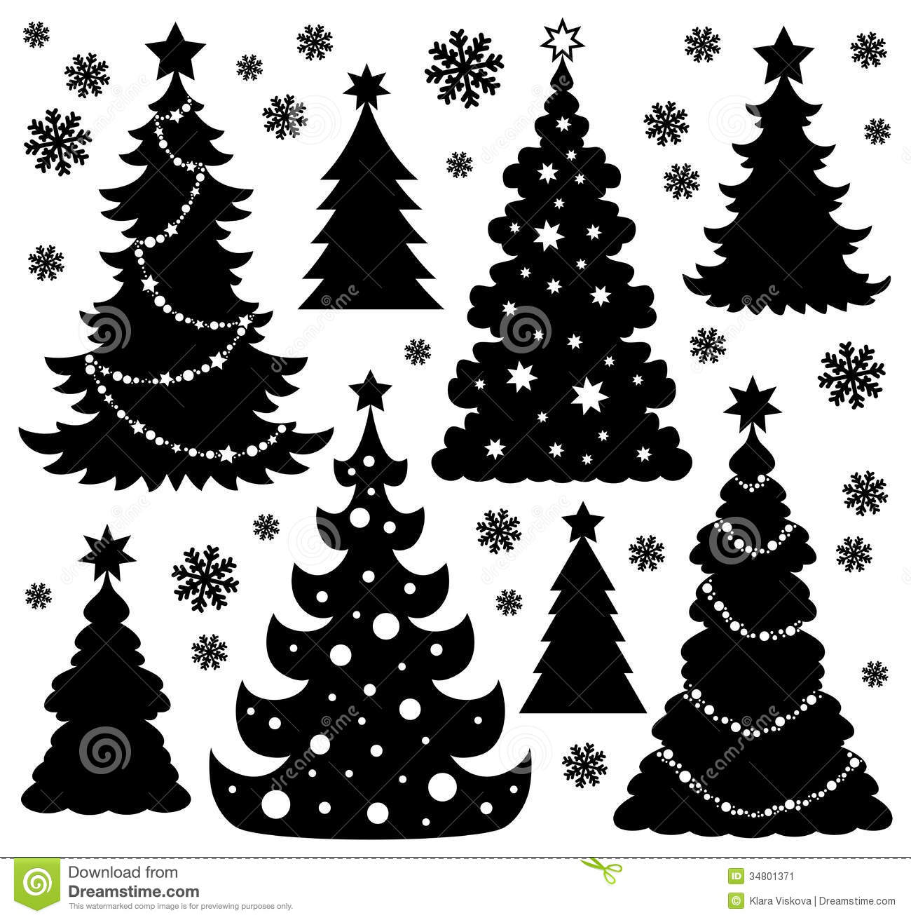 christmas tree silhouette theme 1 stock image image. Black Bedroom Furniture Sets. Home Design Ideas