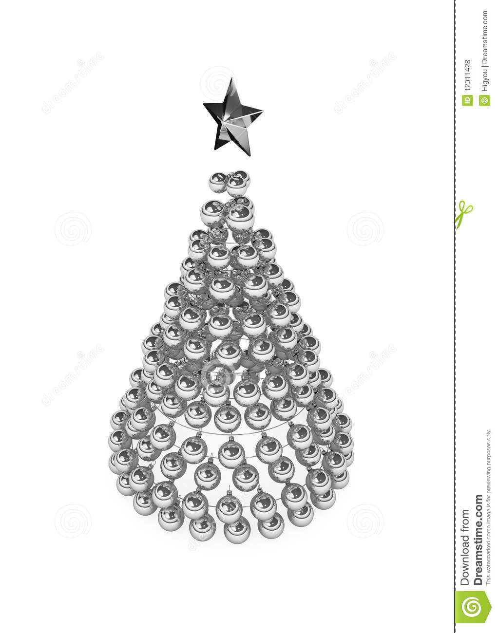 christmas tree silver baubles