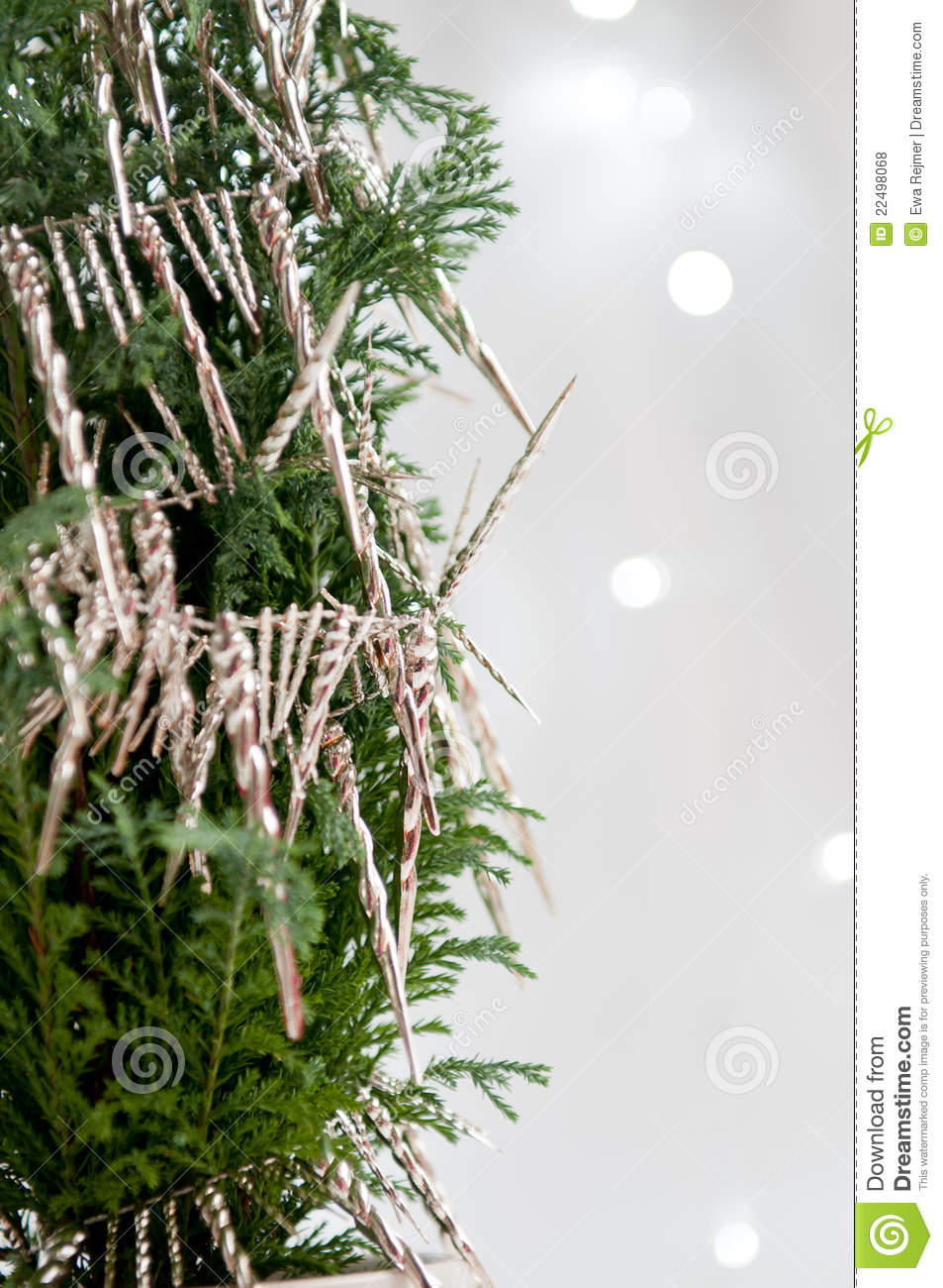 Icicle For Christmas Trees.Christmas Tree With Silver Icicles Stock Photo Image Of