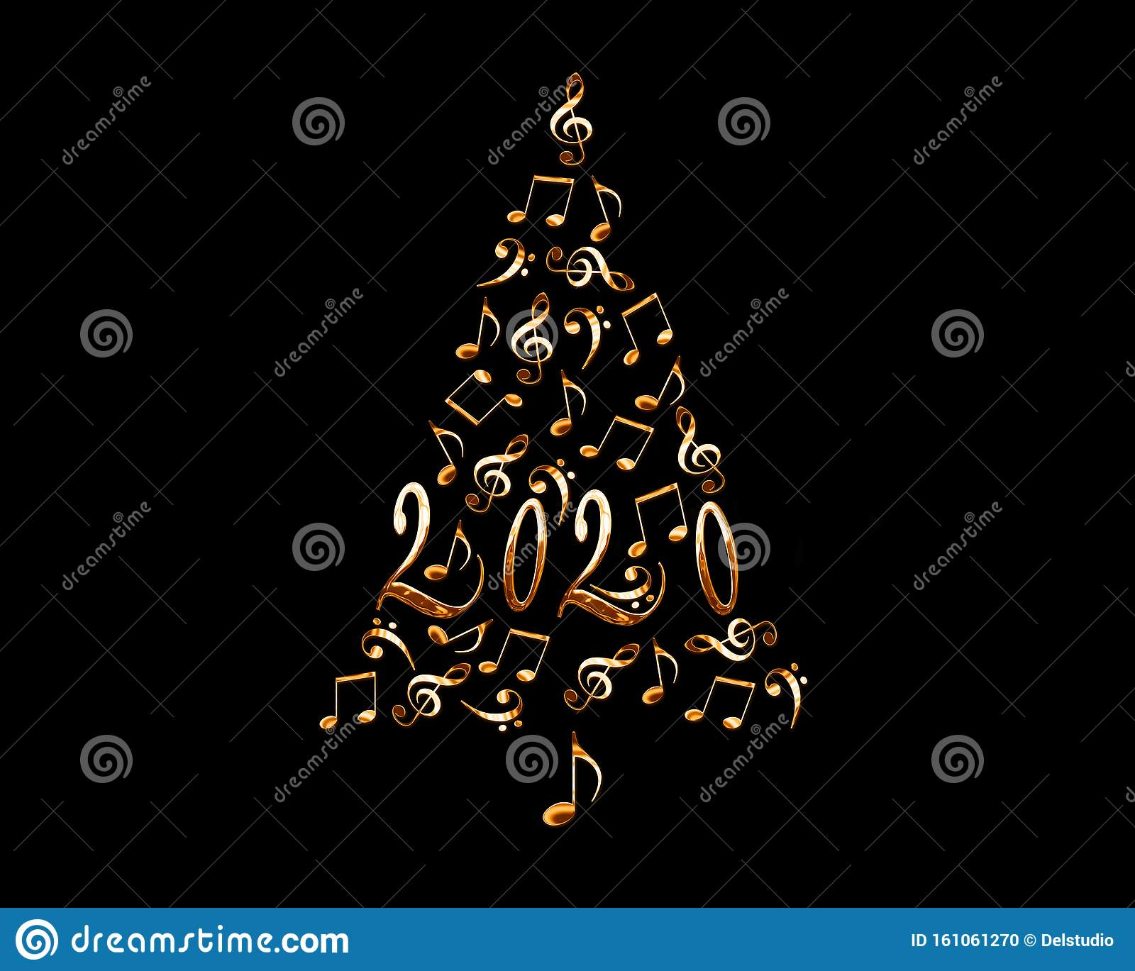 New Christmas Musicals 2020 2020 Christmas Tree With Silver Metal Musical Notes Isolated On