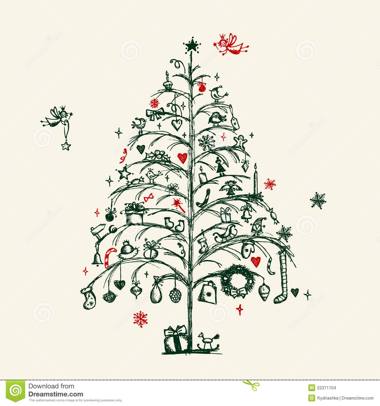 Christmas Tree Sketch Stock Illustration. Image Of Ornament - 22371104