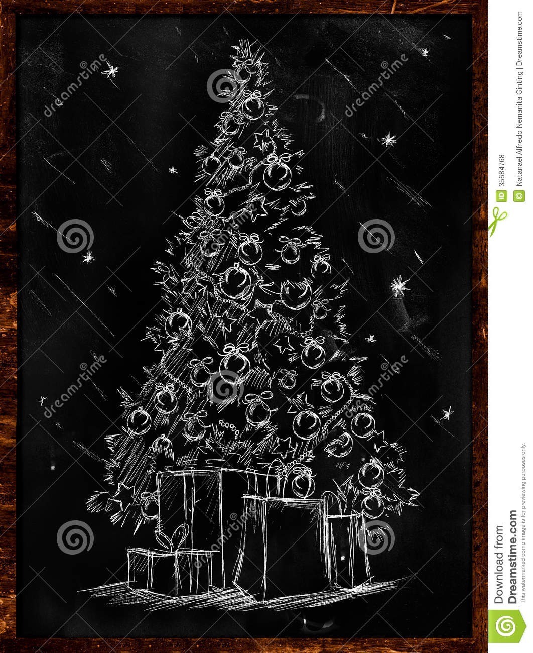 Christmas Tree Sketch Blackboard Wallpaper Holiday Ginting