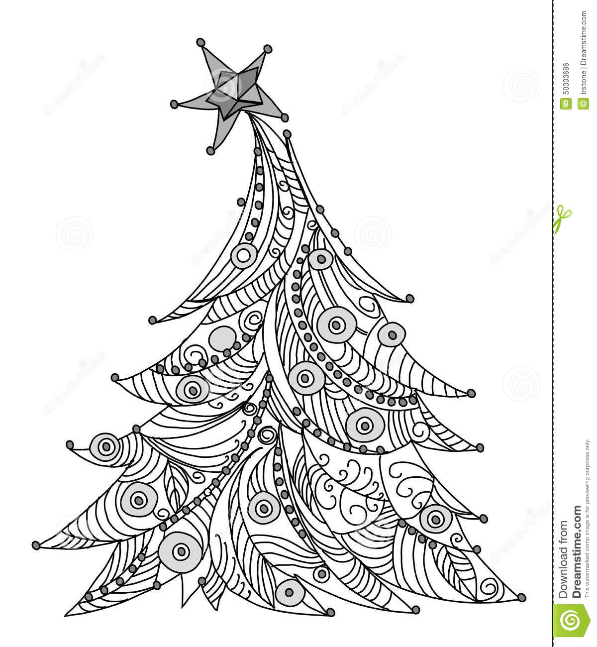 Christmas Tree Sketch Kidu0026#39;s Dreams Stock Illustration - Illustration Of Engraved Ball 50333686