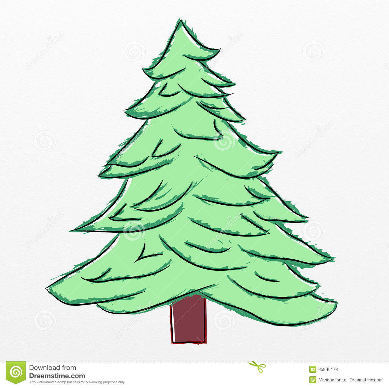 Christmas Tree Sketch Stock Illustration. Illustration Of Tree - 35840178