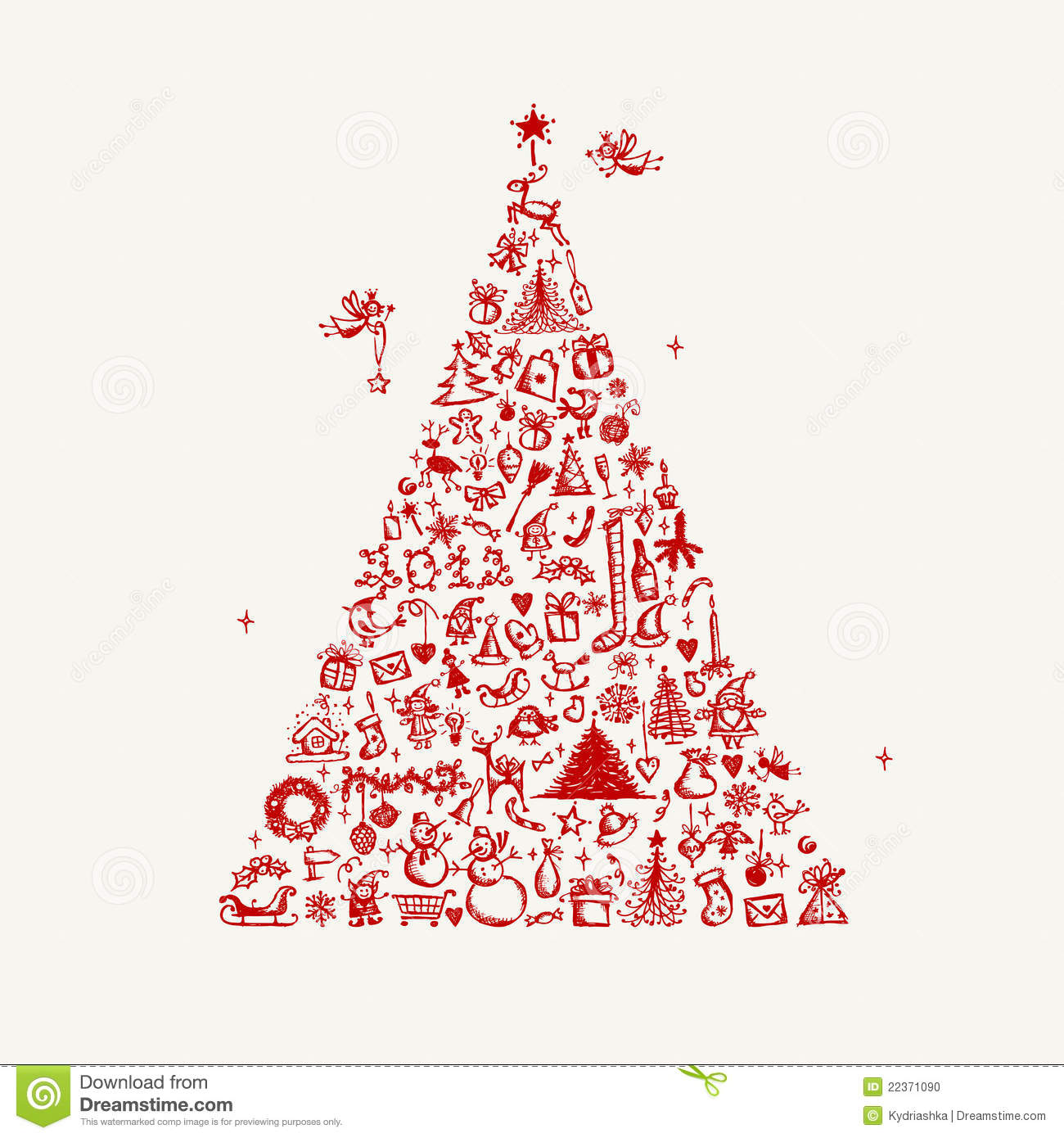 Drawing Christmas Tree Sketch.Christmas Tree Sketch For Your Design Stock Vector