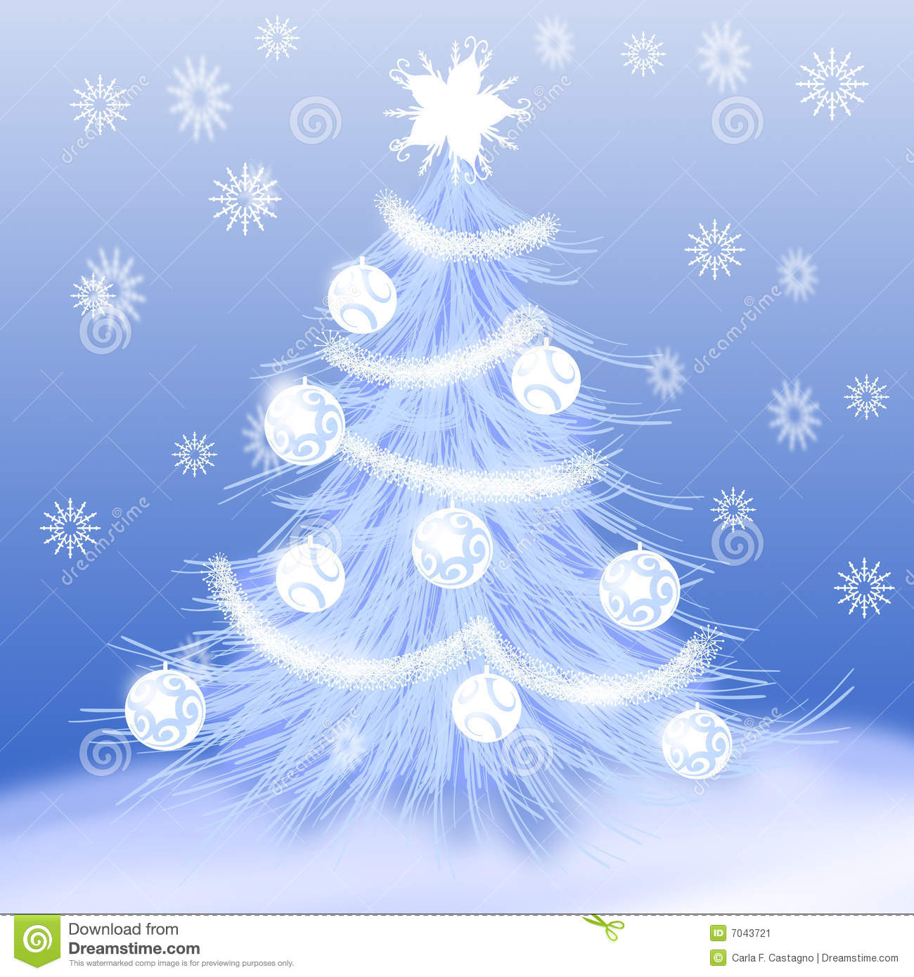 Christmas Tree Snow Stock Vector Illustration Of Decoration 7043721