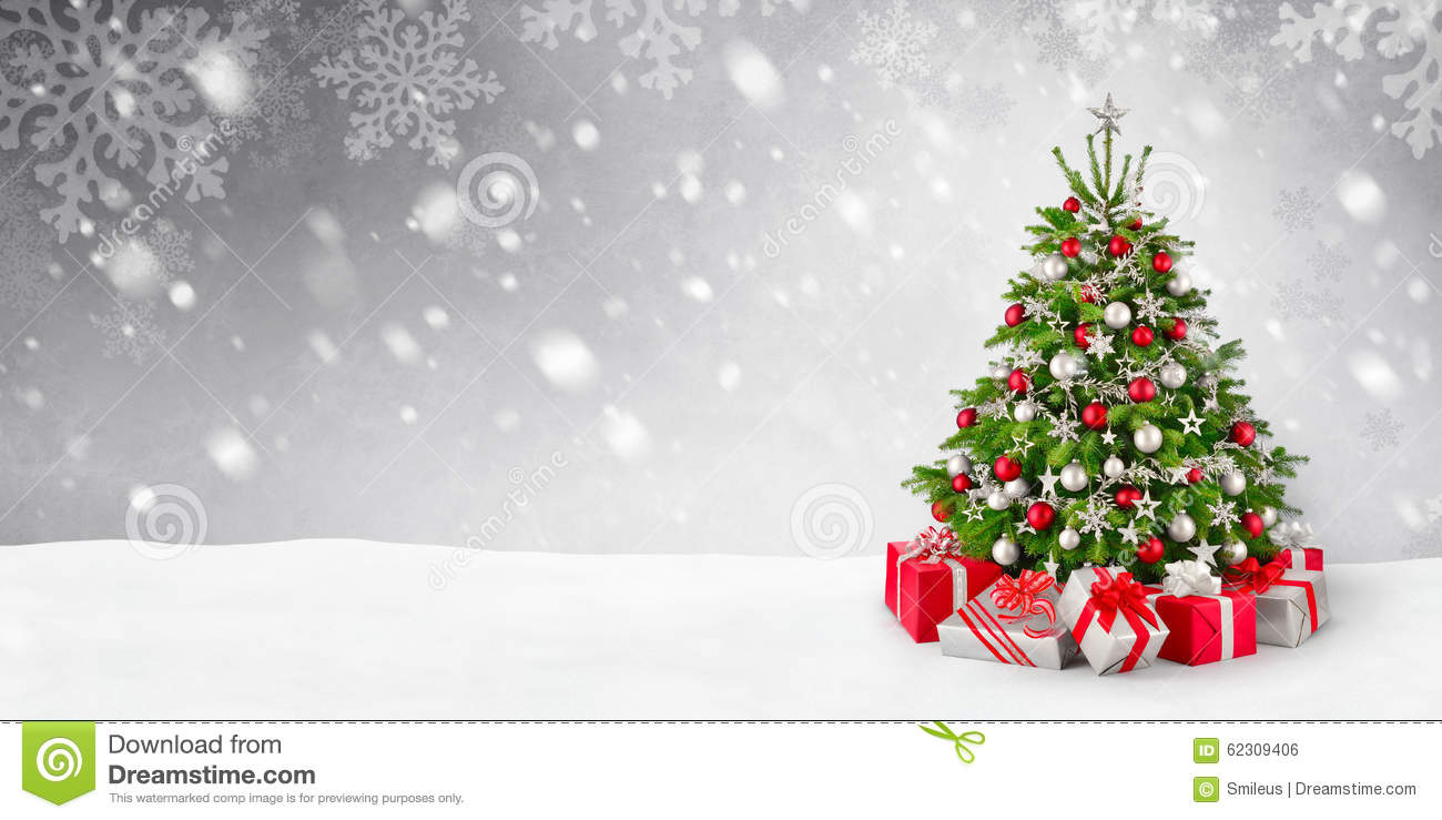 Christmas Tree Backgrounds.Christmas Tree And Snow Background Stock Photo Image Of