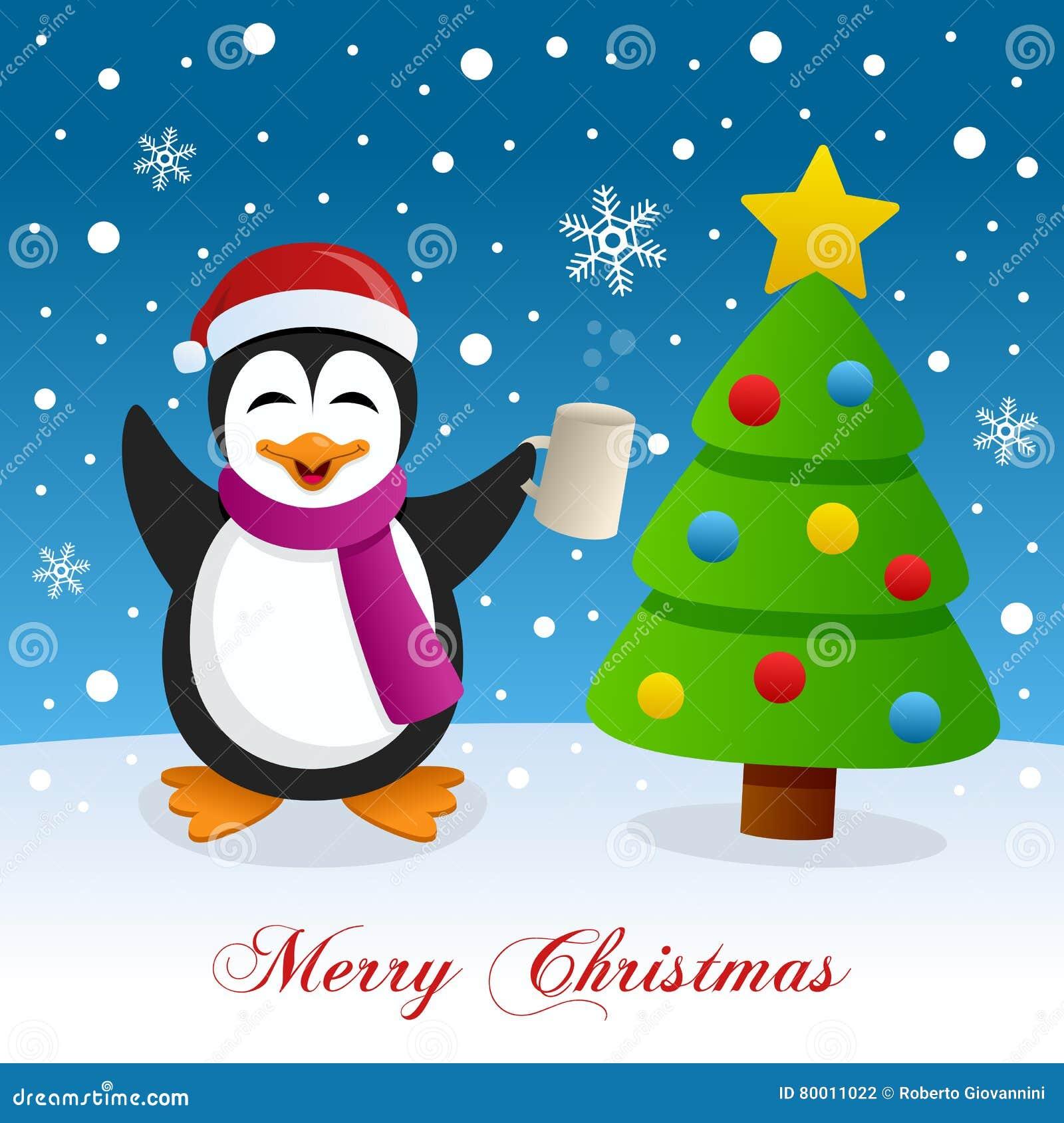 Christmas Tree Snow Drunk Penguin Stock Vector Illustration Of