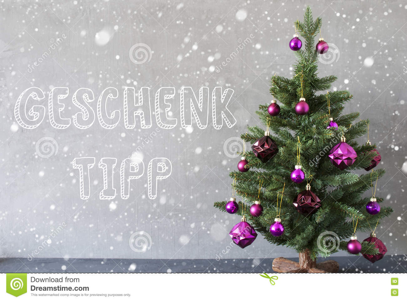 Christmas Tree, Snowflakes, Cement Wall, Geschenk Tipp Means Gift ...