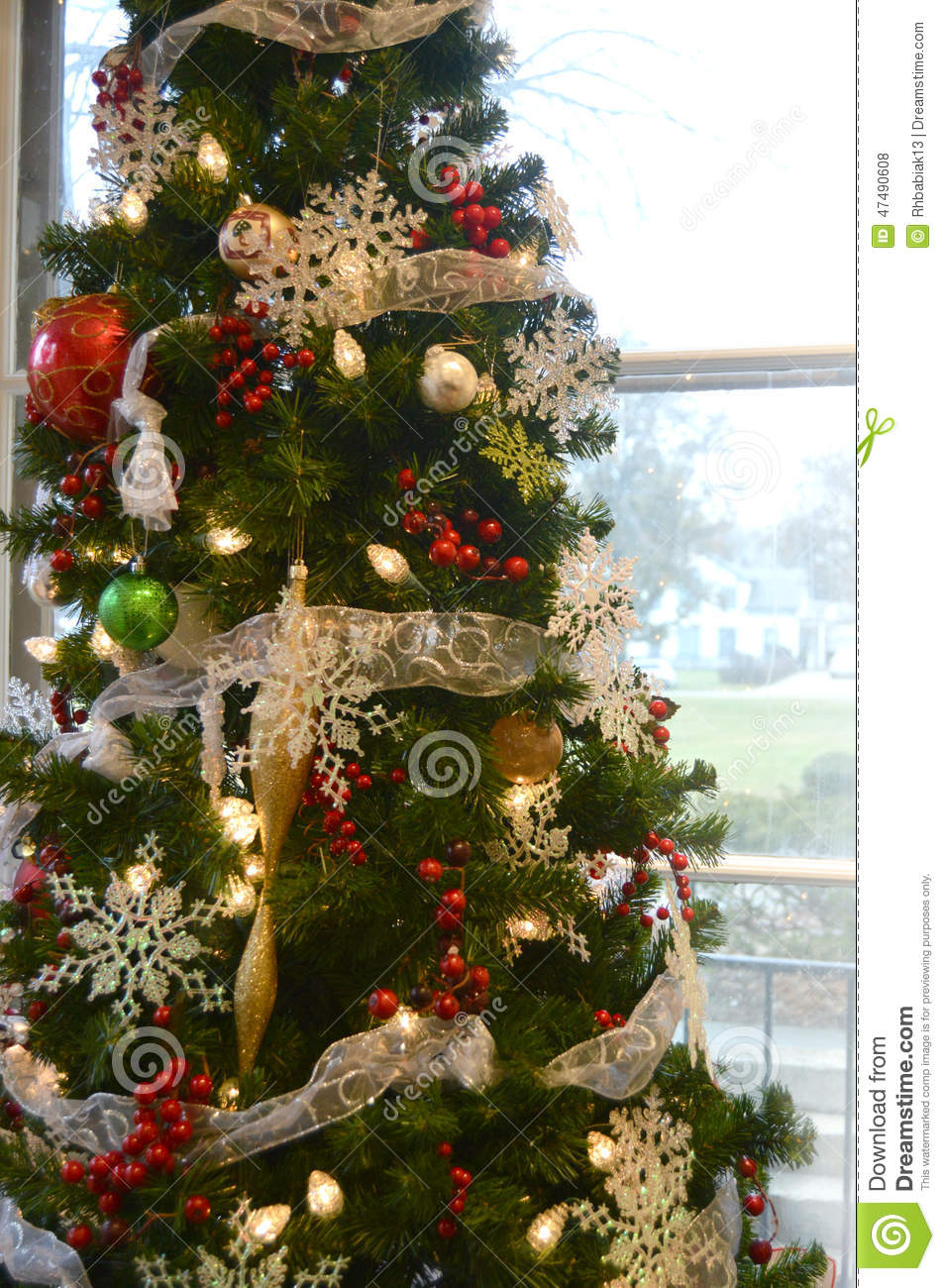 Christmas Tree Snowflakes Stock Photo Image Of Globe