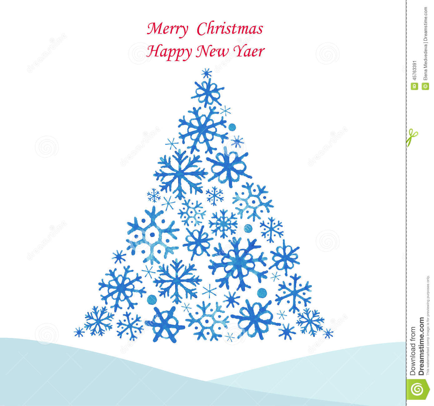 Christmas Tree From Snowflakes Stock Vector