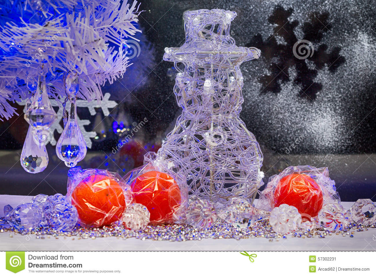 Blue and purple christmas decorations - Christmas Tree Snowman And Decoration Wallpaper Stock Photo