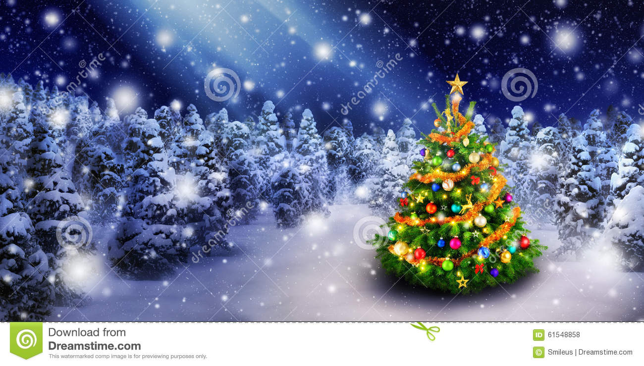 Christmas Tree In Snowy Night Stock Photo Image 61548858