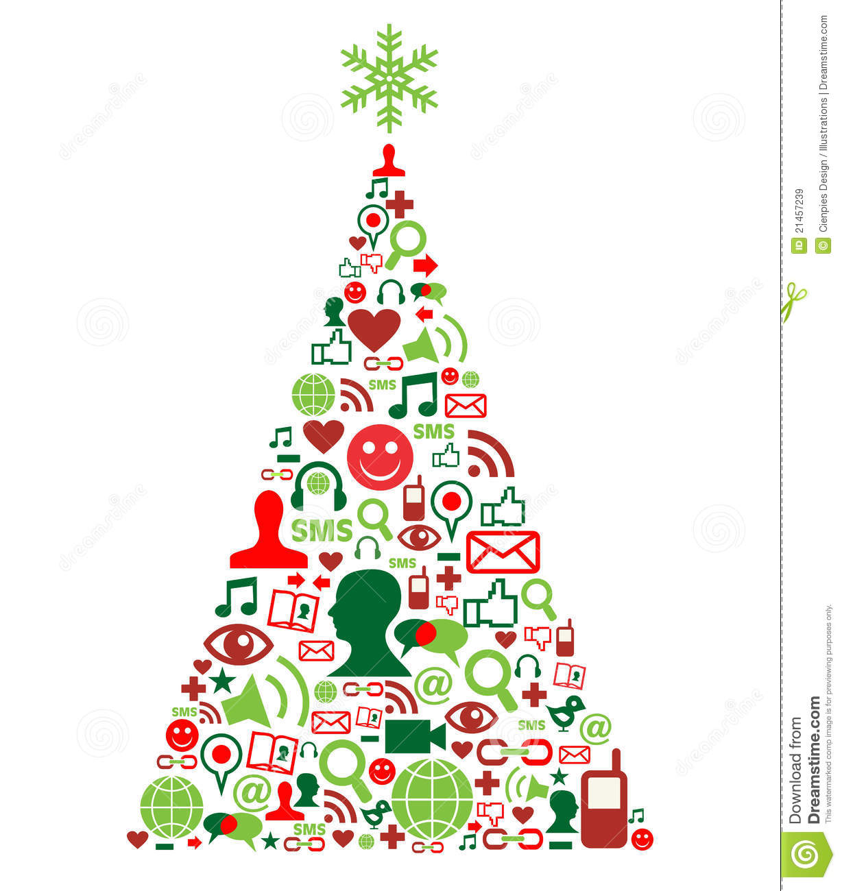 Christmas tree with social media icons