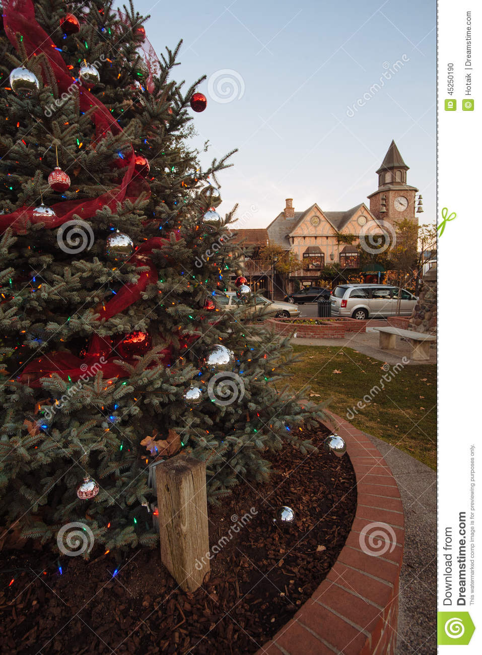 download christmas tree in solvang california stock photo image of holiday village