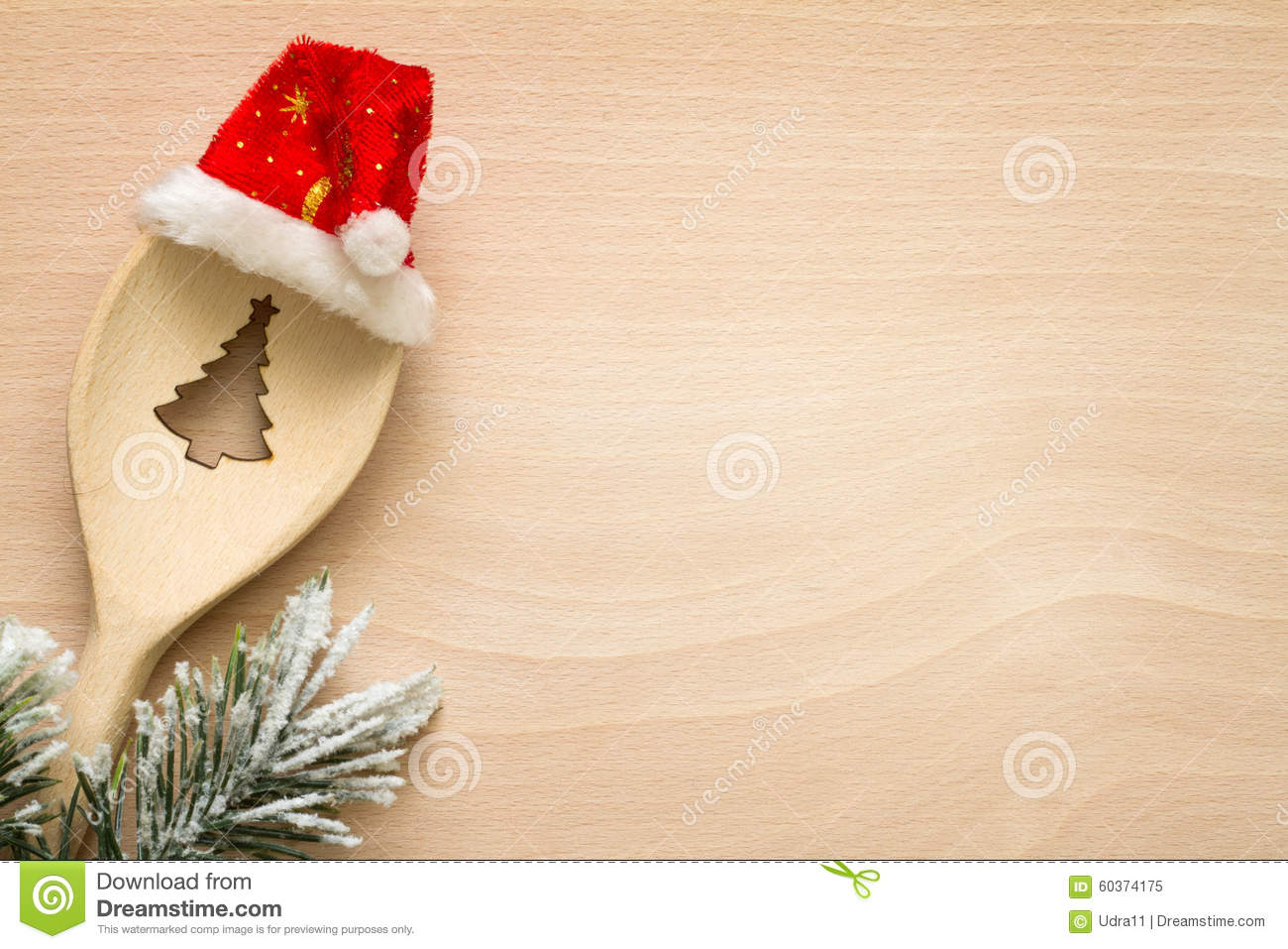 Christmas Tree In Spoon Abstract Food Background Stock