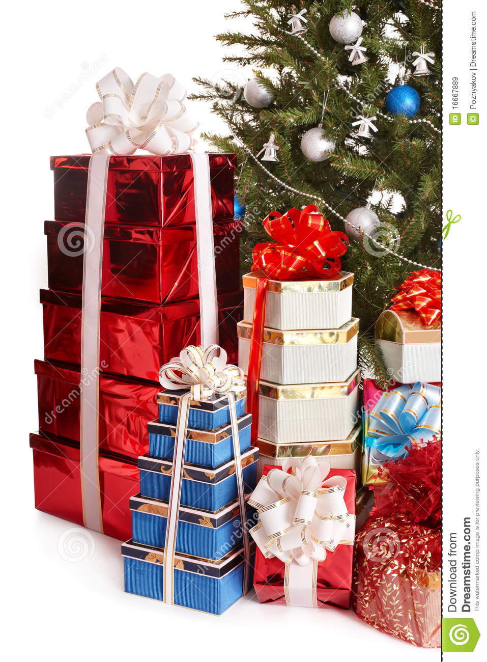 Christmas tree with stack gift box royalty free stock
