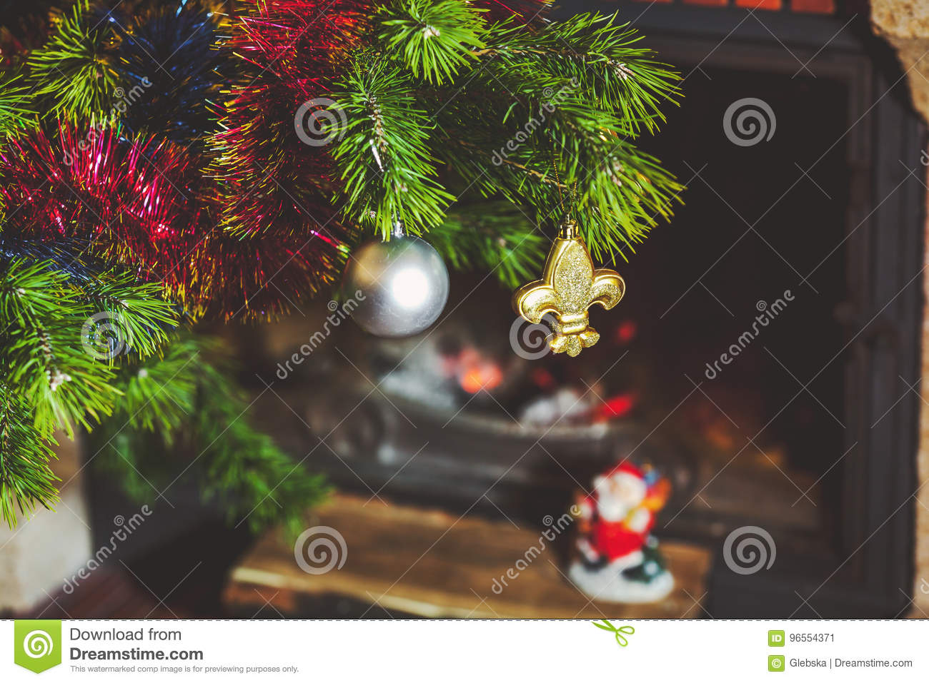 download christmas tree stands in front of fireplace with burning firewood stock image image of - Decorative Christmas Tree Stands