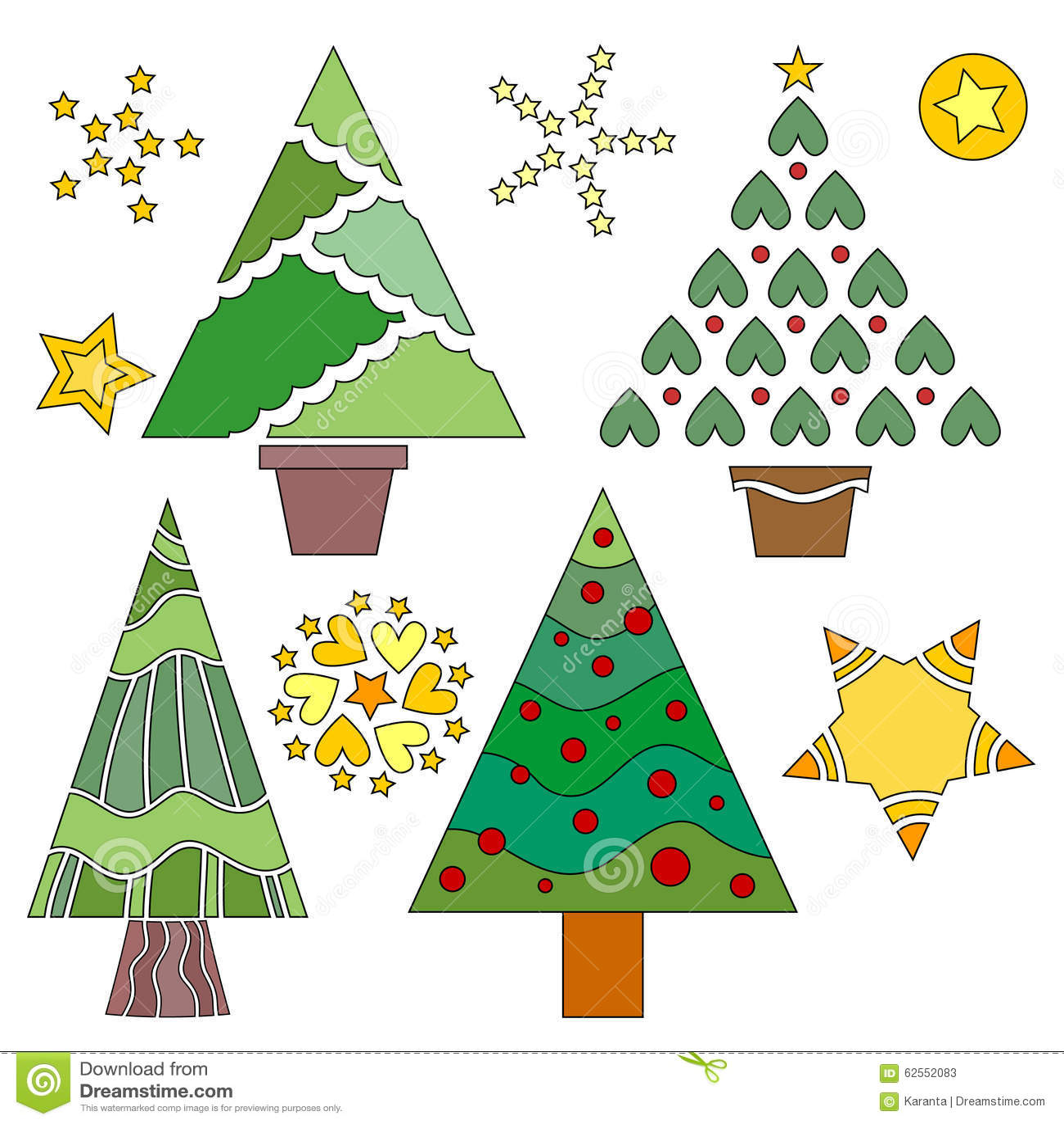 Christmas Tree Collection Trowbridge : Christmas tree and star collection stock vector image