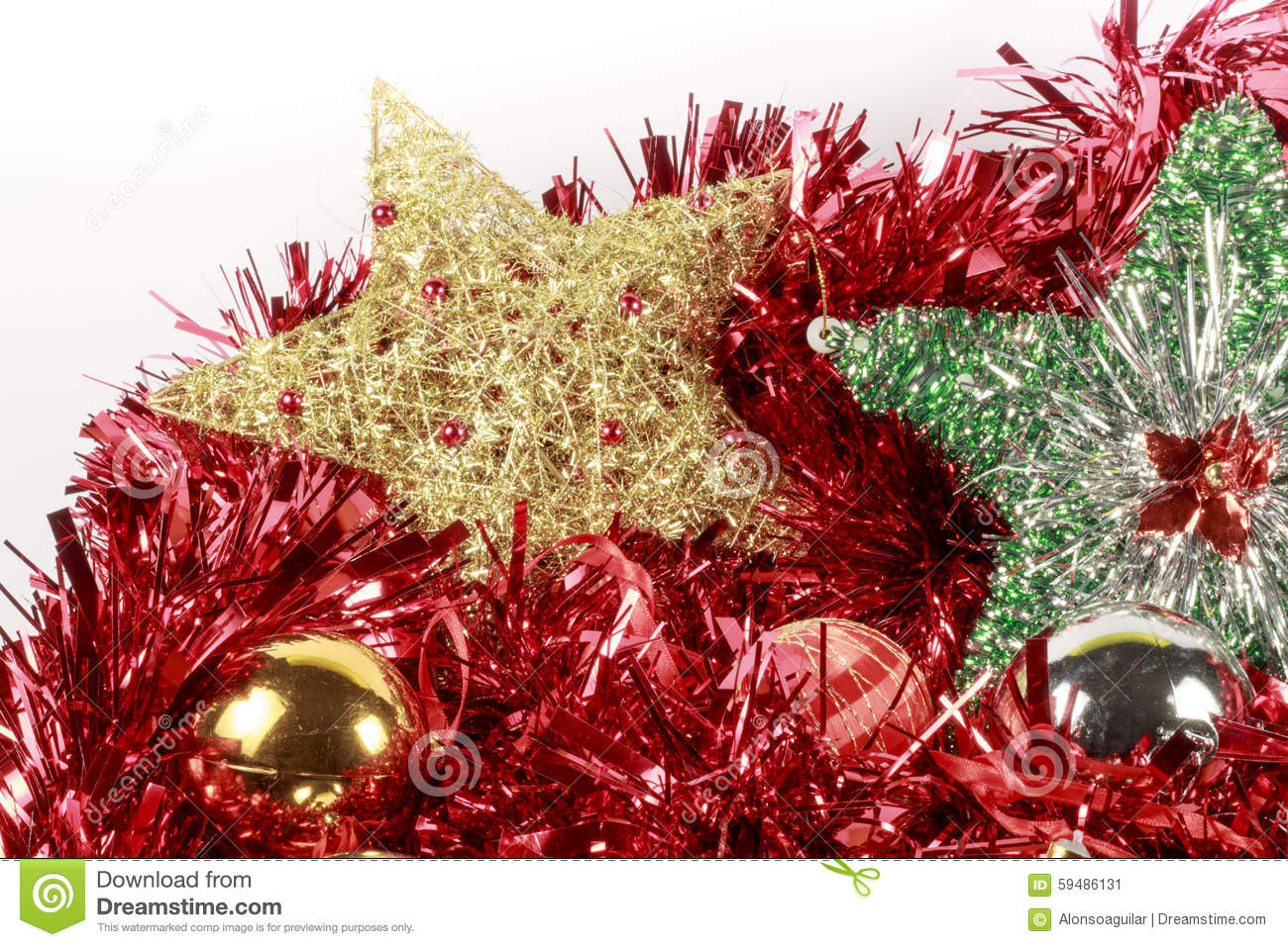 Different types of christmas trees pictures - Christmas Tree Stars And Baubles Of Different Types Over A Red Garland Stock Photo