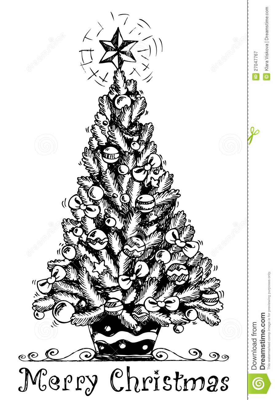 Christmas Tree Stylized Drawing 1 Stock Vector Image