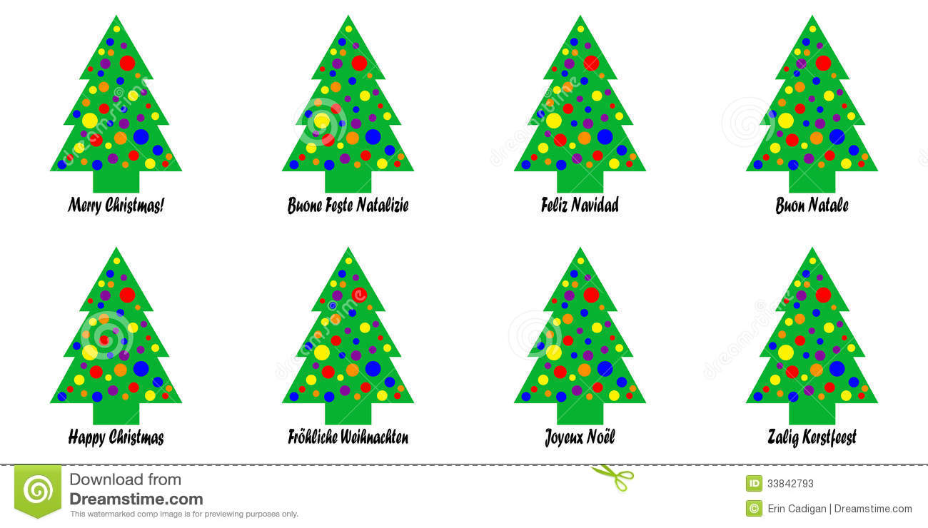 christmas greeting languages stickers tags tree ...