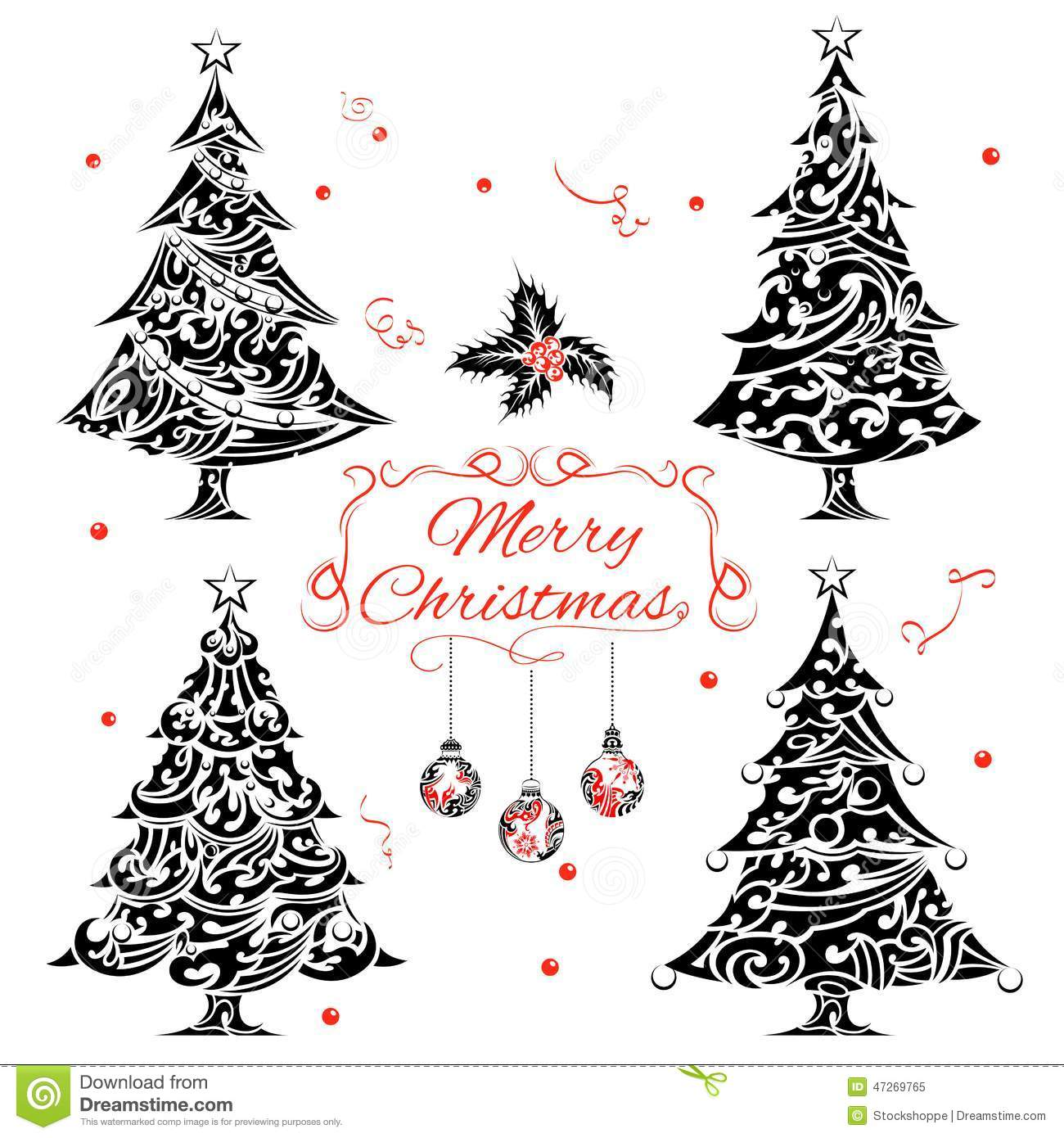 Christmas Tree Tattoo Designs.Christmas Tree In Tattoo Style Stock Vector Illustration
