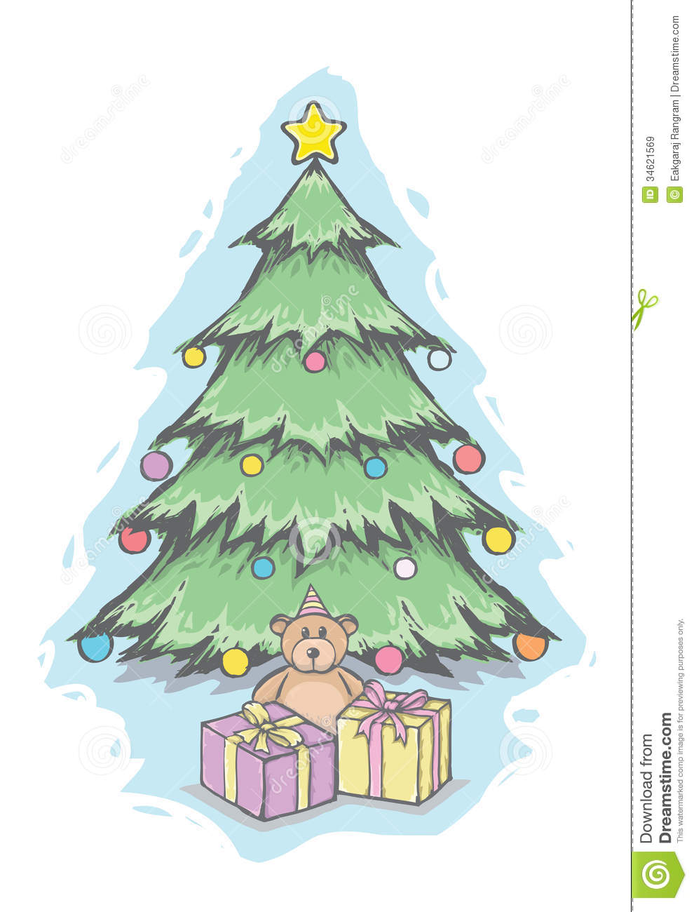christmas tree and teddy bear stock vector image 34621569. Black Bedroom Furniture Sets. Home Design Ideas