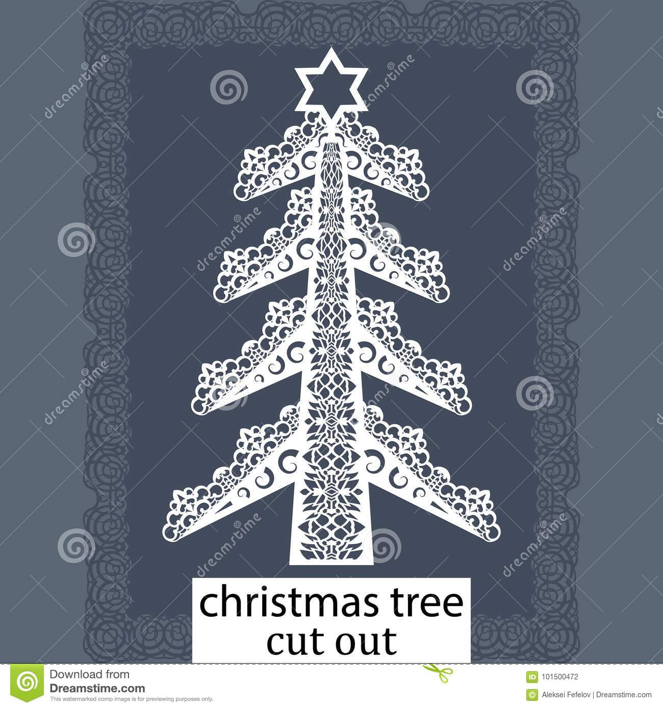 christmas tree a template for laser cutting design element for a christmas and new