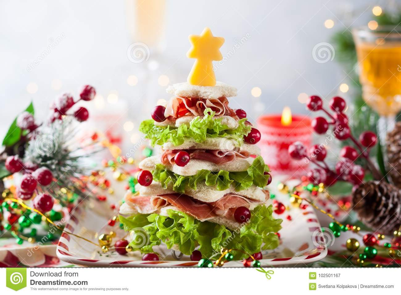 Christmas tree appetizer stock image image of concept for Bacon christmas tree decoration