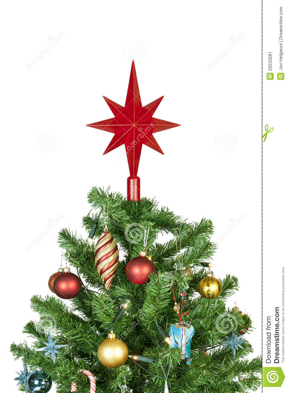 Christmas Tree Top With Ornaments Stock Image - Image: 26533581