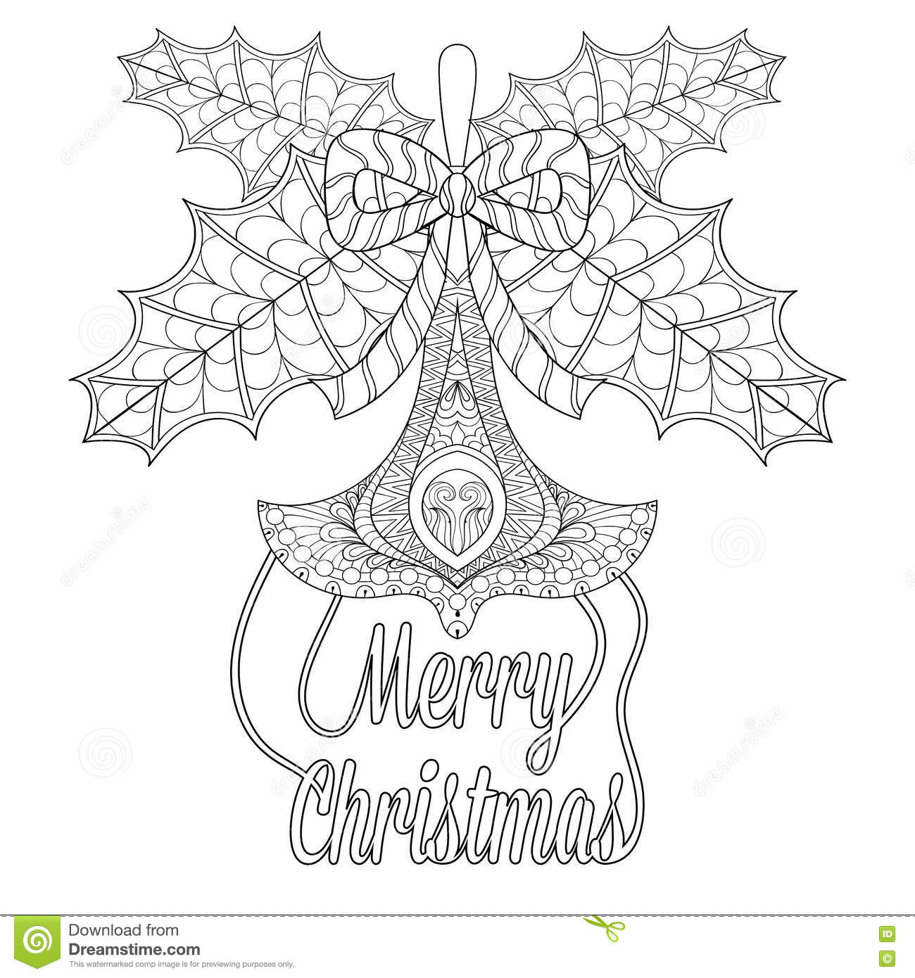 Christmas Tree Toy With Mistletoe Leaves, Wishes In Zentangle Stock ...