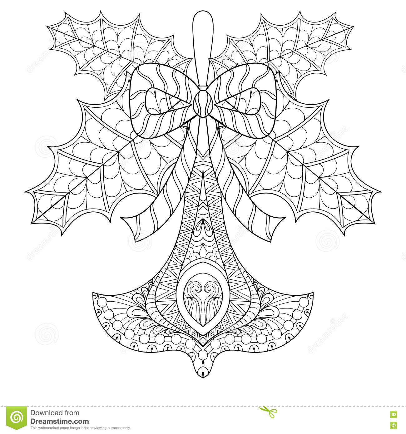 Christmas Tree Toy With Mistletoe Leaves In Zentangle Style