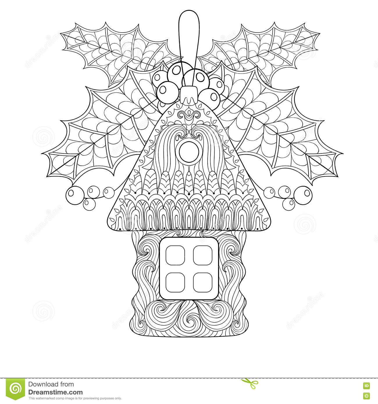Christmas Tree Toy In Shape Of House With Mistletoe In Zentangle ...