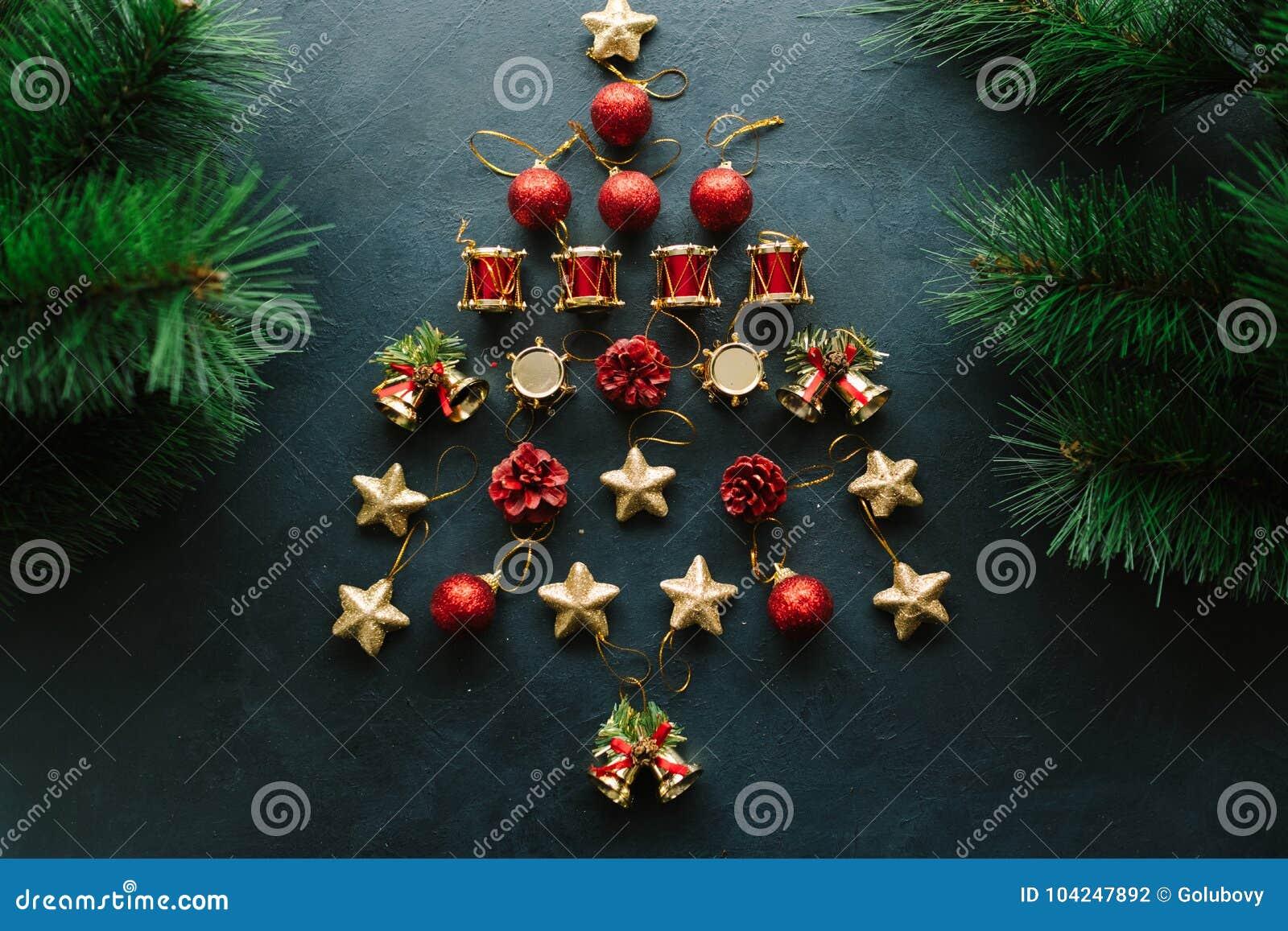 Christmas Tree Toys Decoration.Christmas Tree Toys Background Creative Diy Stock Photo
