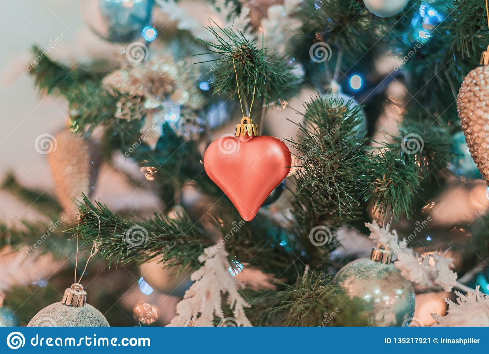 Christmas Tree With Toys In Blue Coral And Golden Color Stock Image Image Of Gold Bauble 135217921