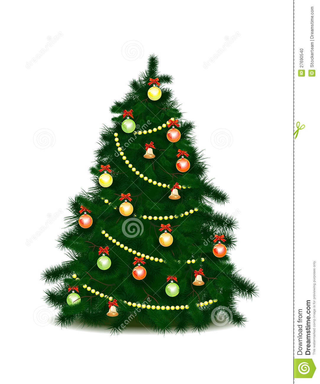 Christmas Tree With Toys : Christmas tree with toys and a garland stock illustration