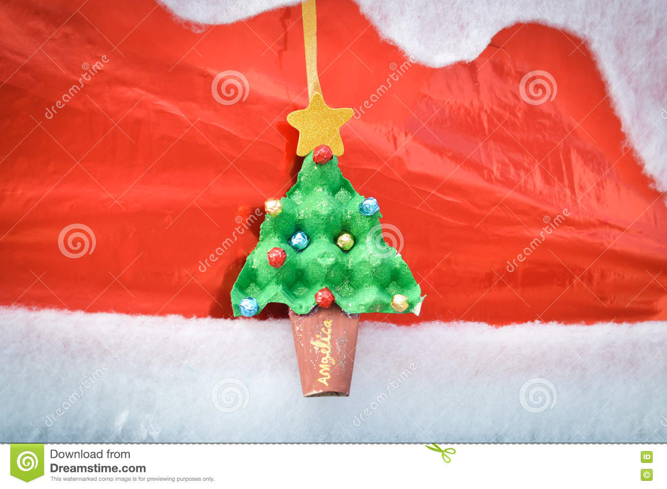 Christmas Tree Toys Handmade.Christmas Tree With Toys Handmade On A Red Background Stock