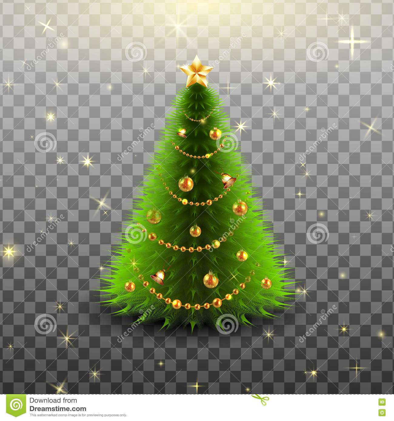 Christmas Tree On Transparent Background Vector Illustration Stock