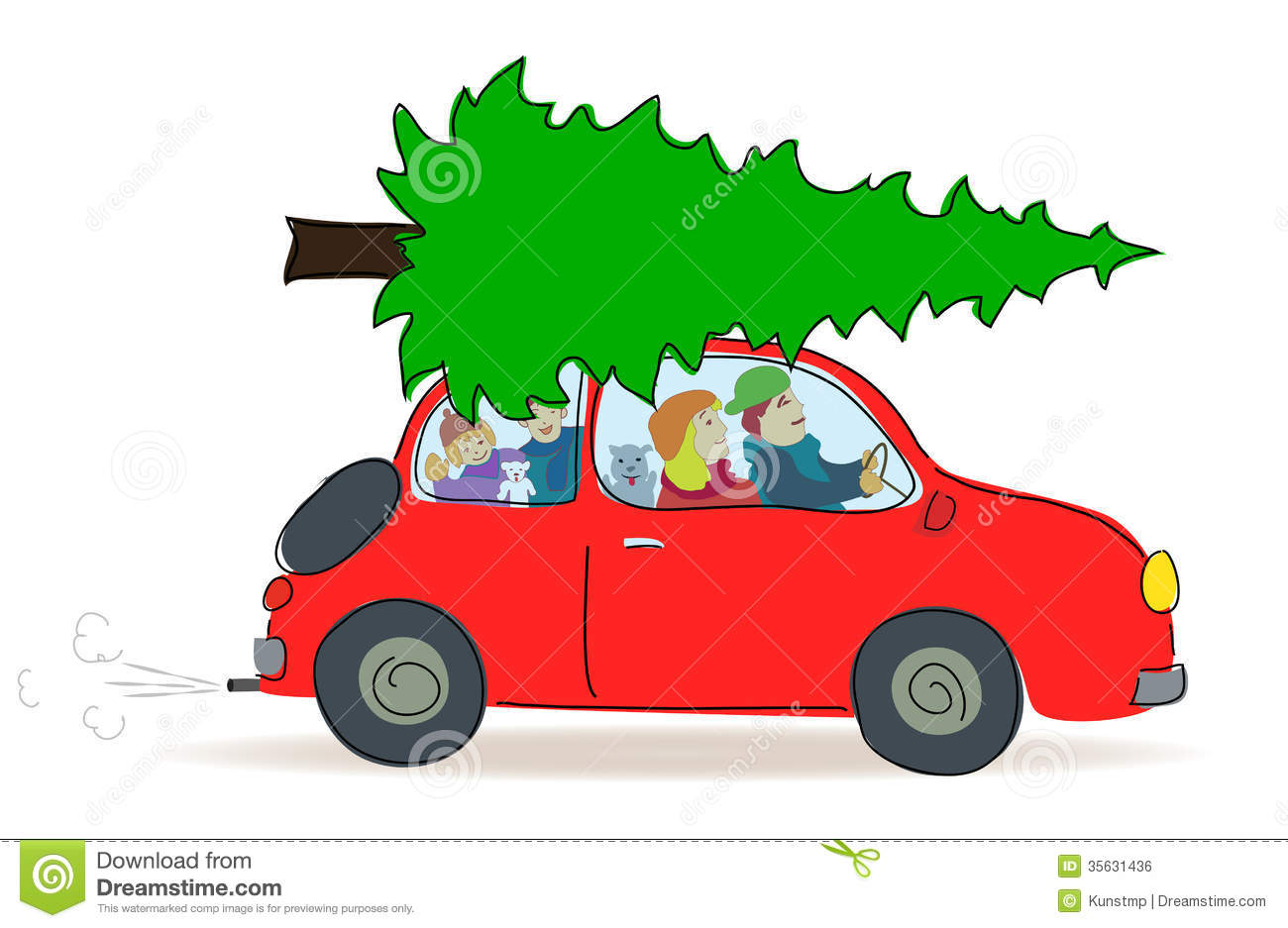 Christmas Tree Transport By Car Stock Vector