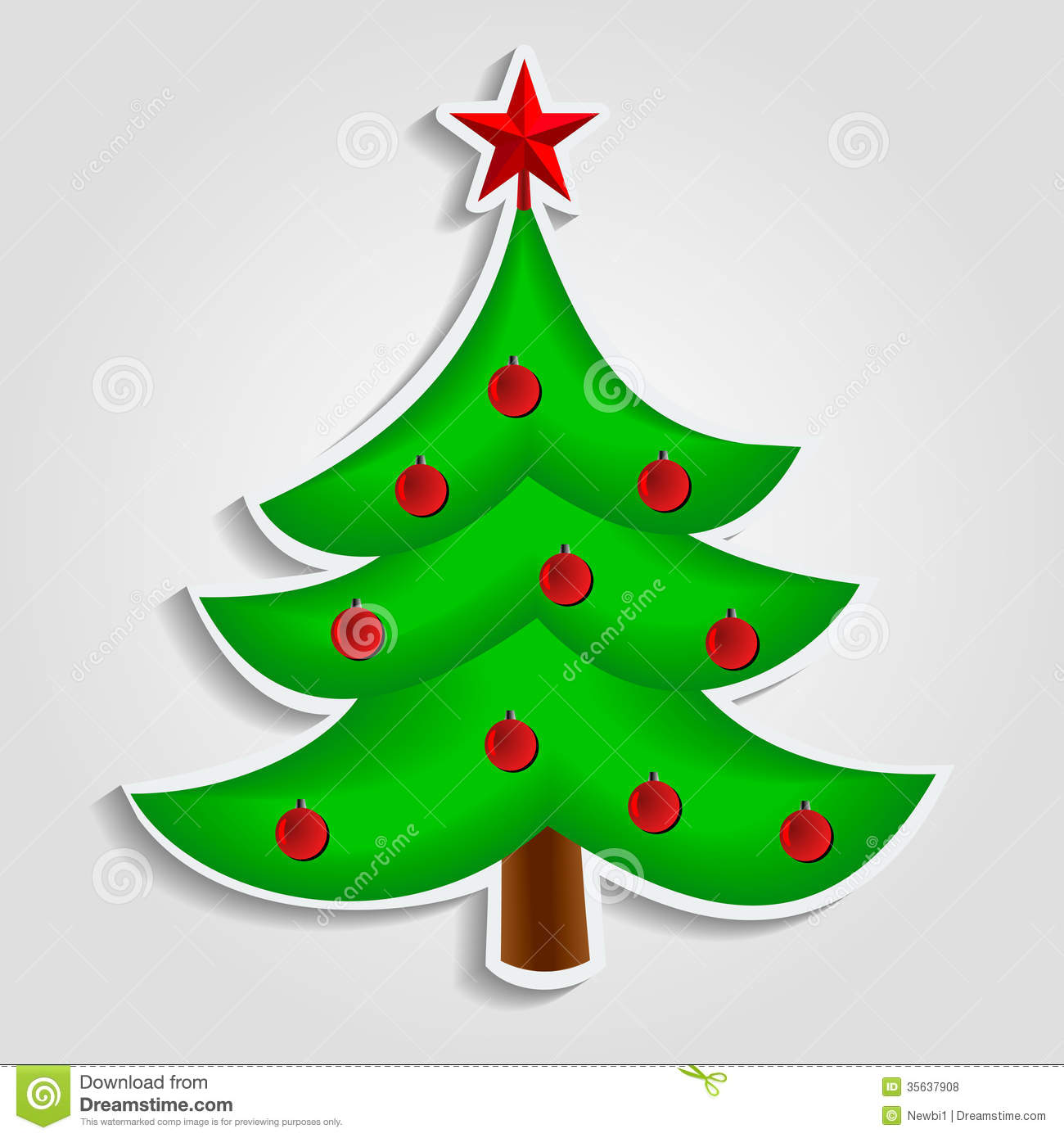 Christmas Tree Vector Image In Flat Design Royalty Free Stock Photos ...