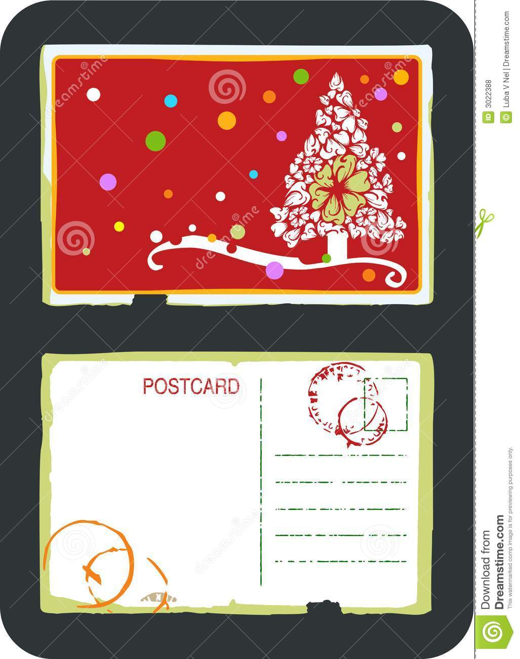 christmas tree vector postcard stock vector illustration of post