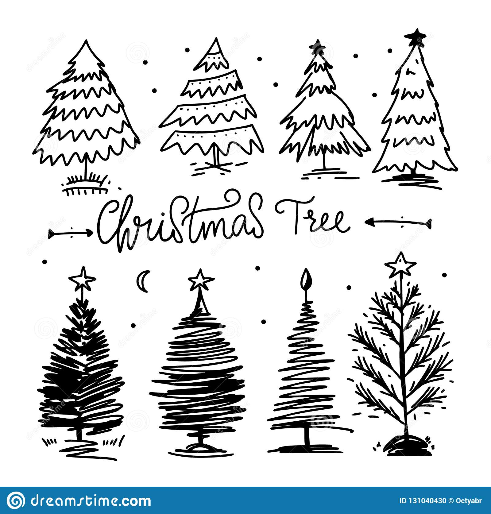 christmas-tree-vector-set-hand-drawn-illustration-line-art-isolated-white-background-131040430 Ideas For Christmas Tree Vector Art @koolgadgetz.com.info
