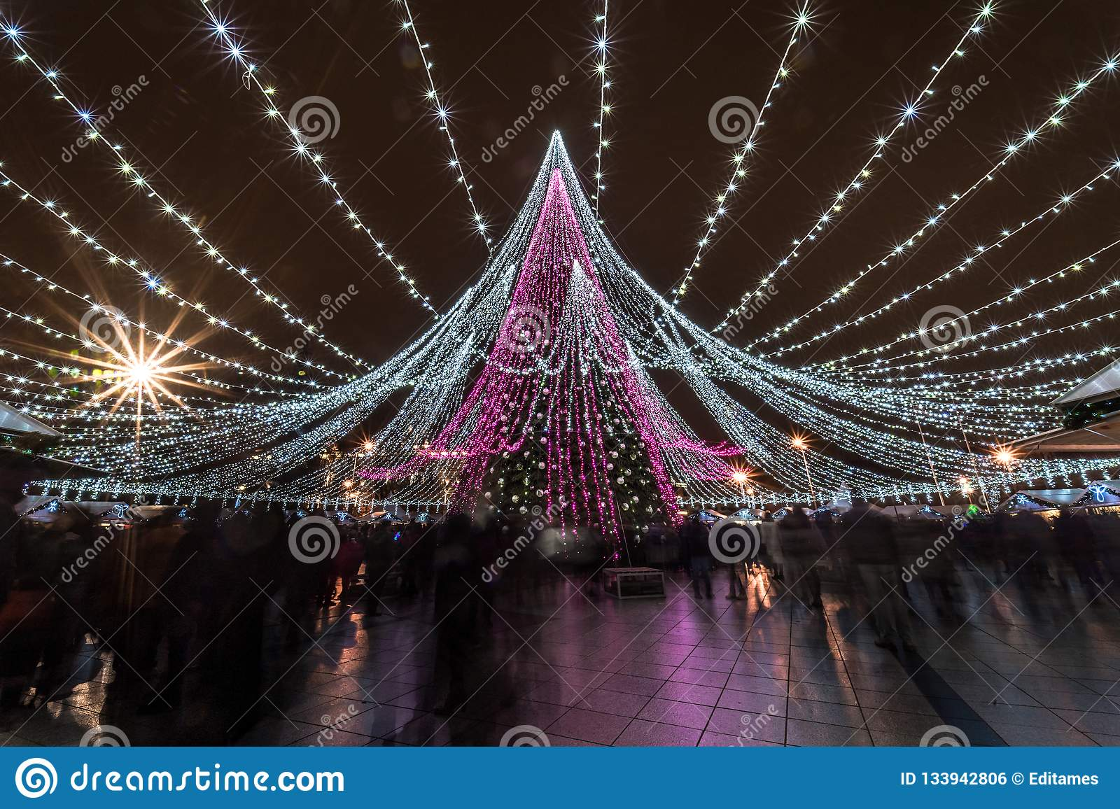 Christmas tree in Vilnius and crowd of people