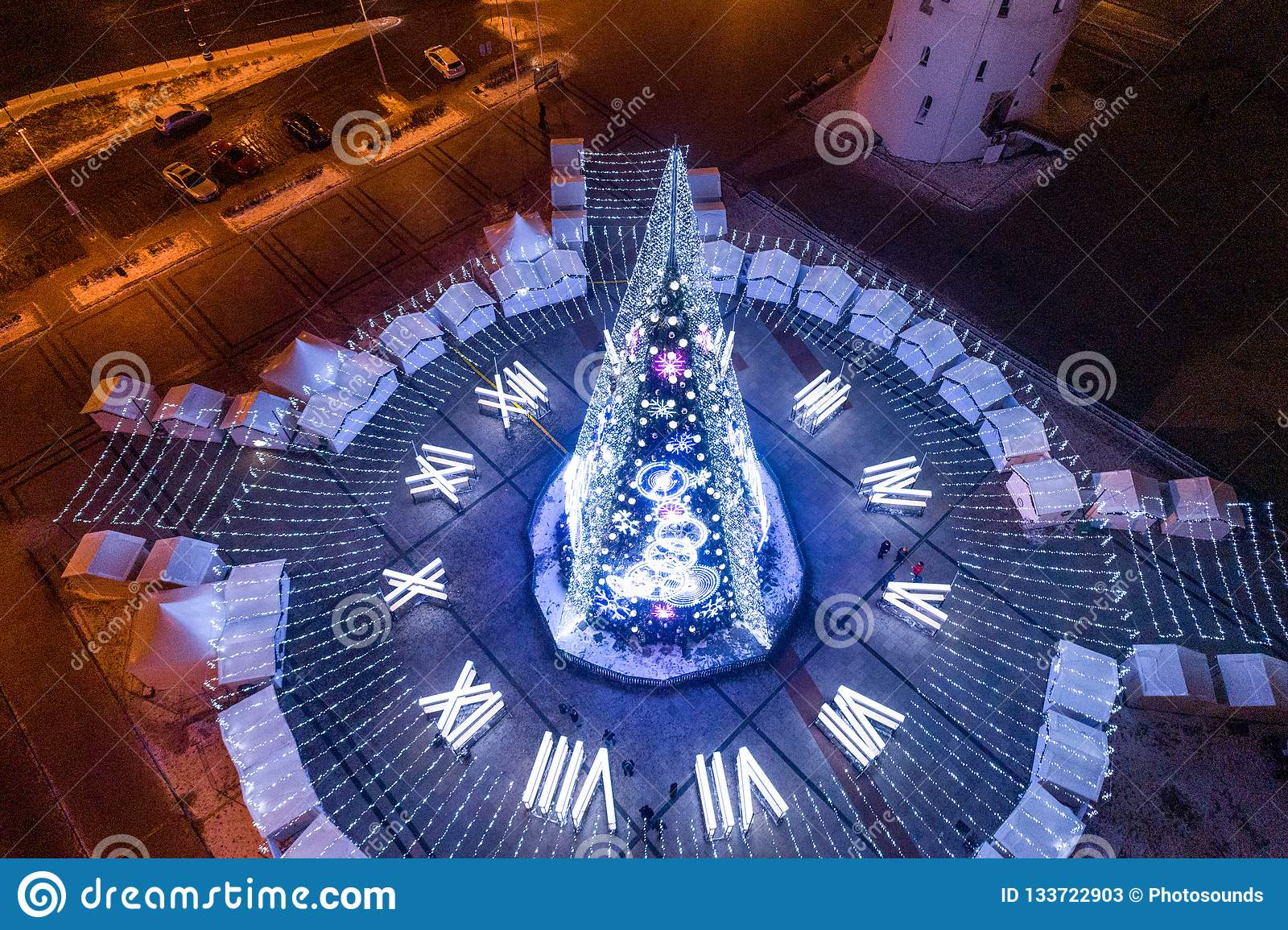 Christmas Tree In Vilnius Lithuania One Of The Best And Beautiful Christmas City In Europe Editorial Stock Photo Image Of Long Exposure 133722903