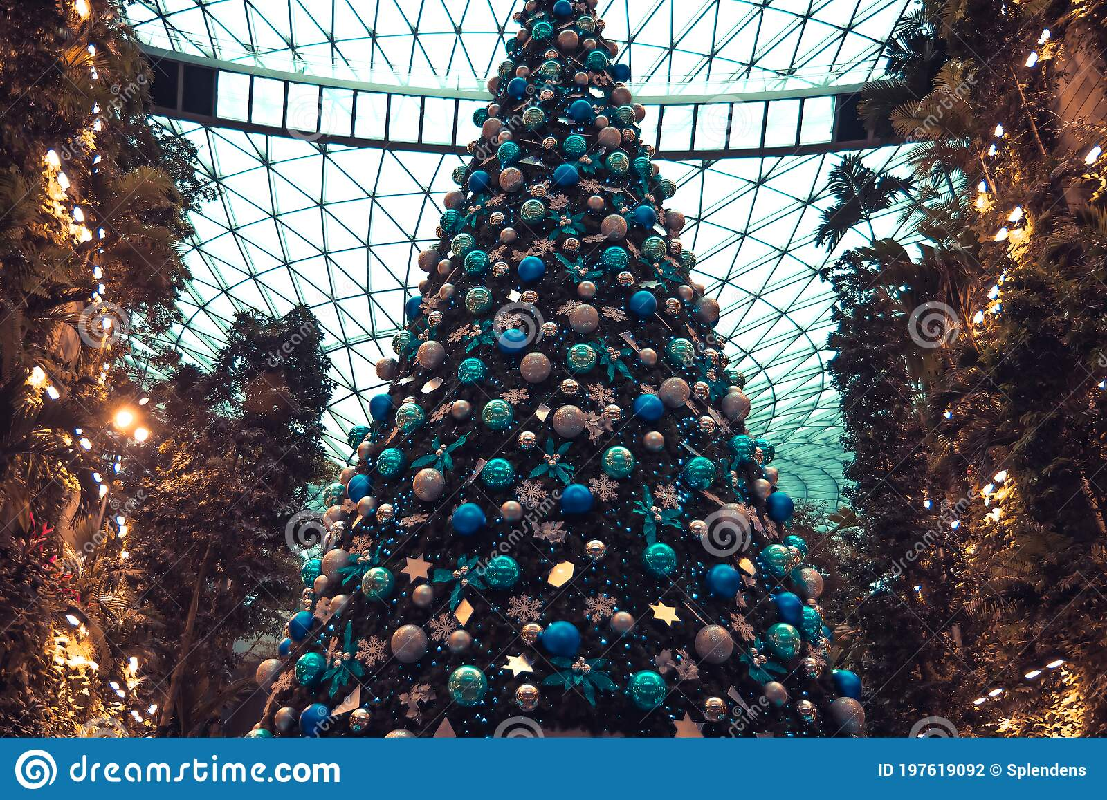Christmas Tree In Vintage Blue Orange Toned Colors As Christmas Holidays Background Stock Photo Image Of Blue Garland 197619092