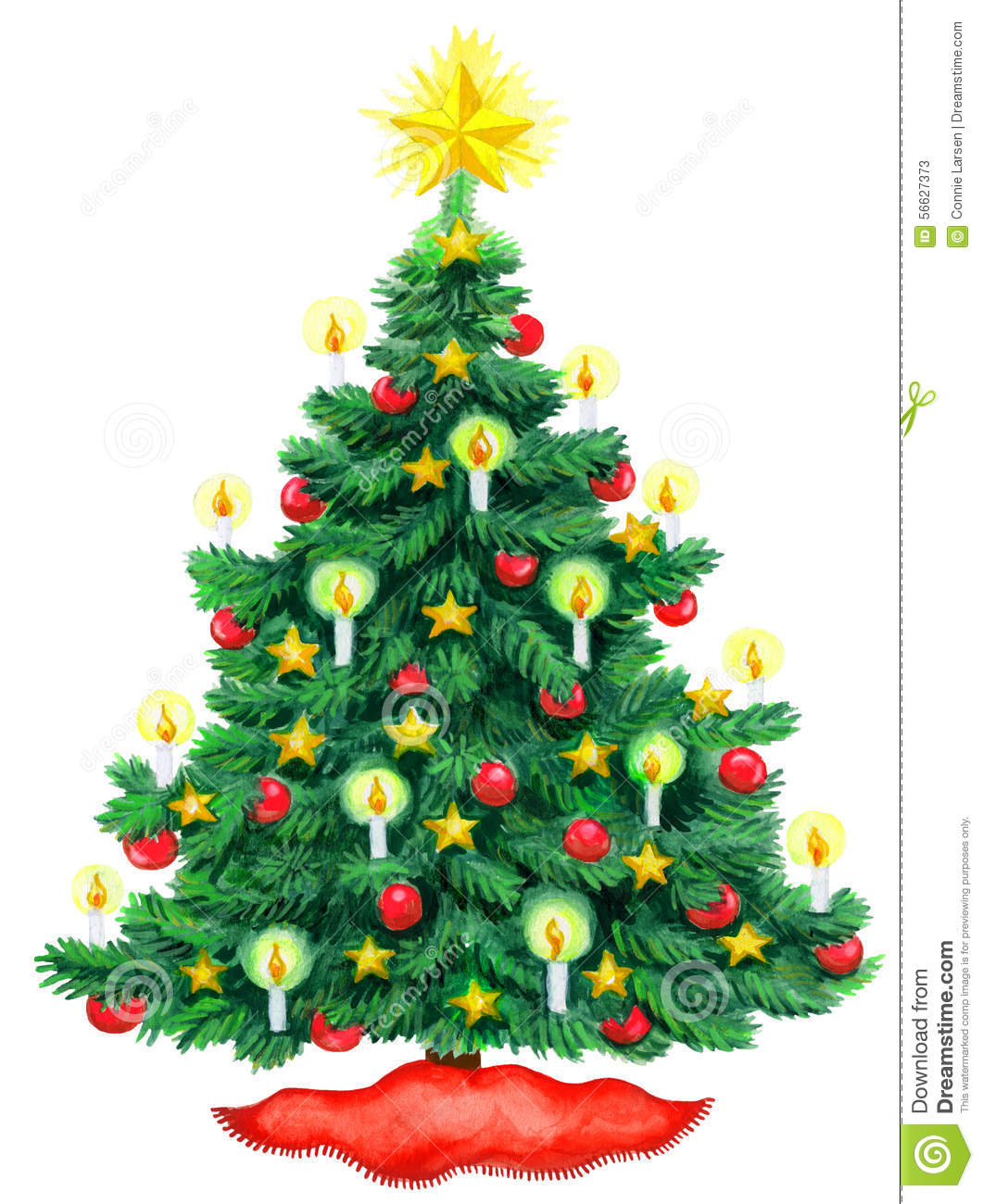 Christmas Tree Watercolor Stock Illustration - Image: 56627373