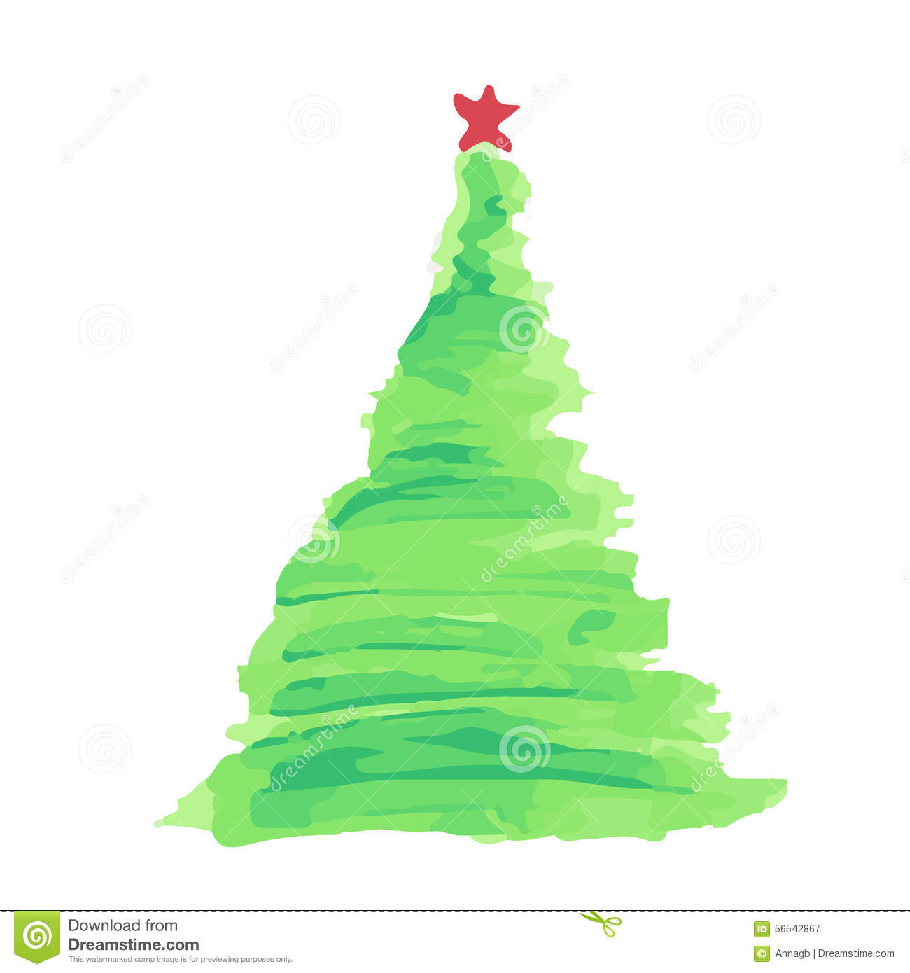 Christmas Tree Watercolor Vector Stock Vector - Image: 56542867